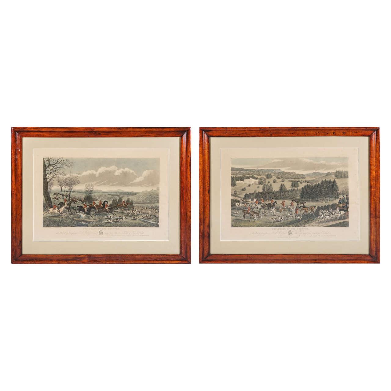 Pair of Late Regency Hunt Engravings in Period Frames