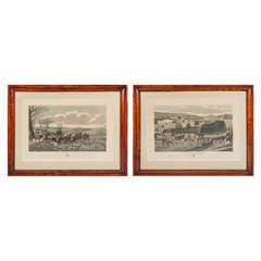 Pair of Late Regency Hunt Engravings in Period Frames