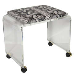 Mid-Century Modernist Waterfall Form Lucite Stool with Faux Python Upholstery
