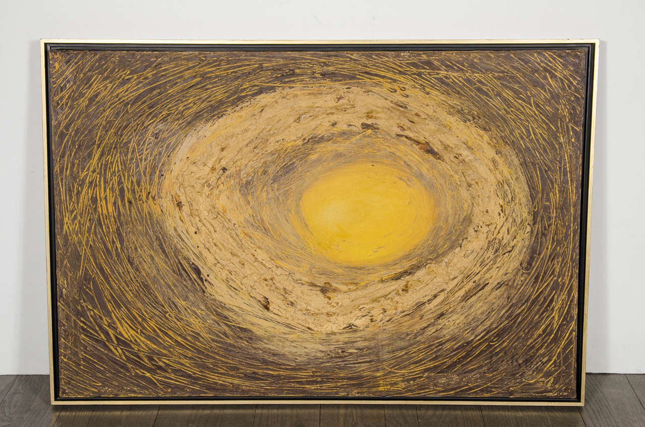 This beautiful oil on canvas featuring a circular form heavy impasto around a central sun-like image. Signed lower right by Darby and inscribed verso as well. The painting is framed in a floating design gallery frame accented with 24k yellow gold