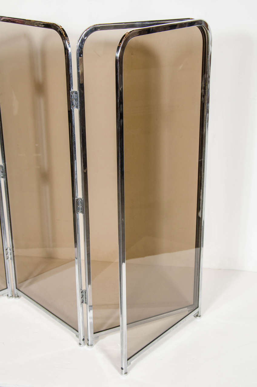 mid century modernist chrome and smoked glass fireplace