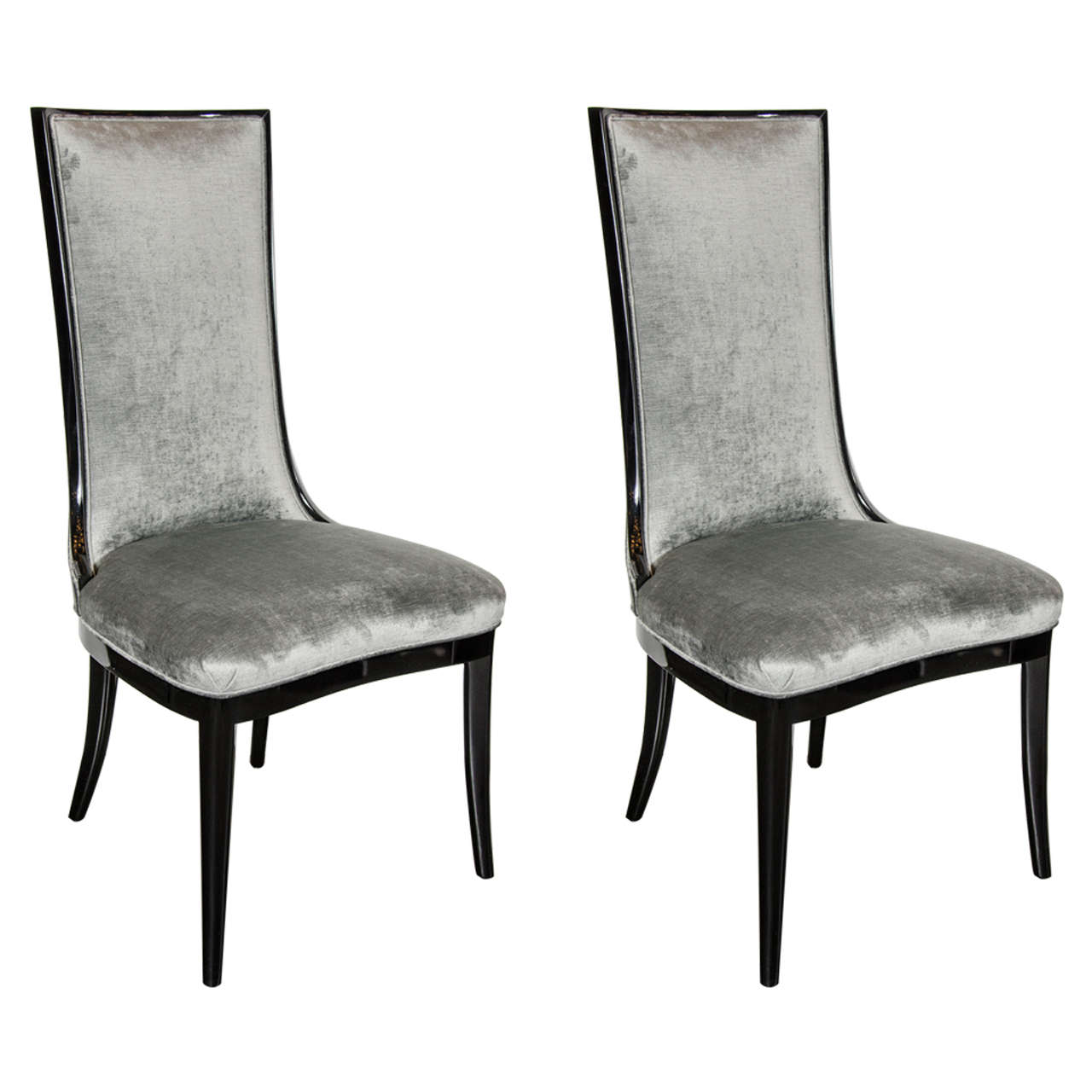Pair Of 1940s High Back Occasional Chairs In Ebonized Walnut And Pewter Velvet For