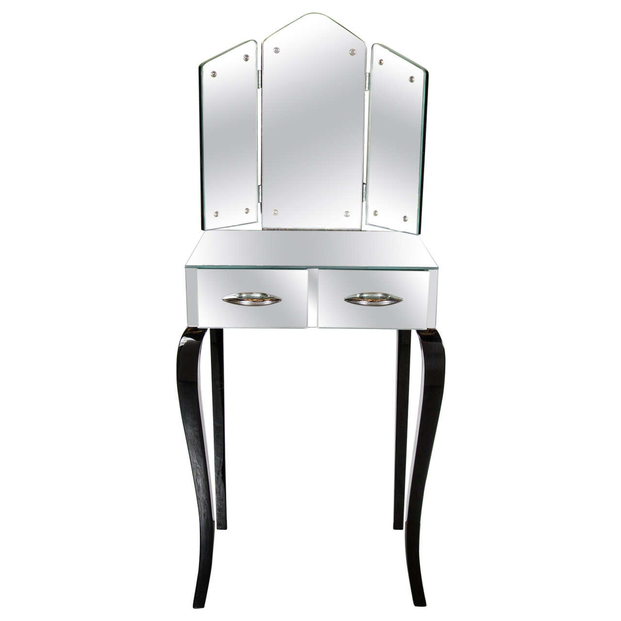 Gorgeous 1940s Mirrored Vanity With Tri Fold Mirror And