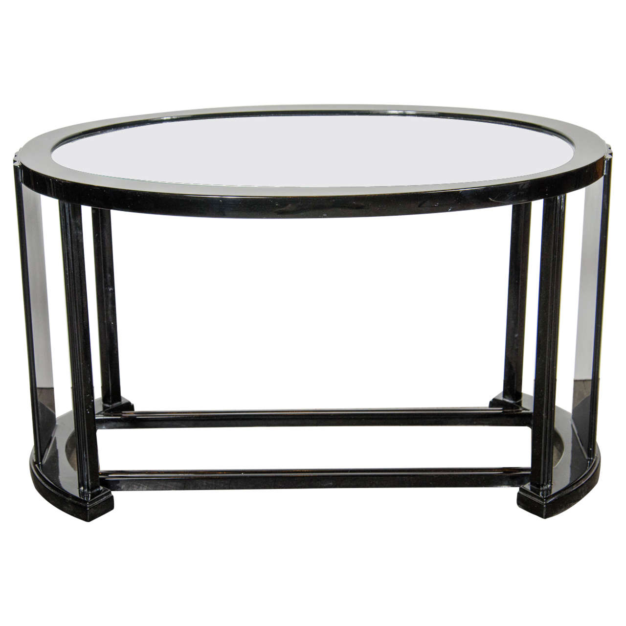 Art Deco Bauhaus Style Cocktail Or Occasional Table In Black Lacquer And Glass For Sale At 1stdibs