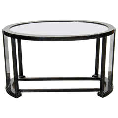 Art Deco Bauhaus Style Cocktail or Occasional Table in Black Lacquer and Glass