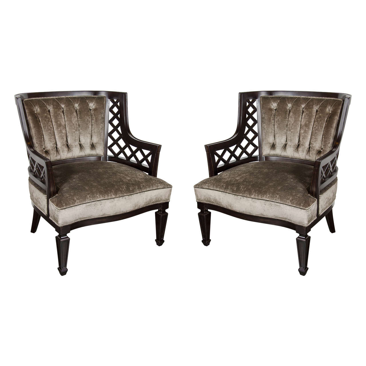 Pair of mid century modernist lattice design occasional chairs for sale