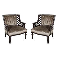 Pair of Mid-Century Modernist Lattice Design Occasional Chairs