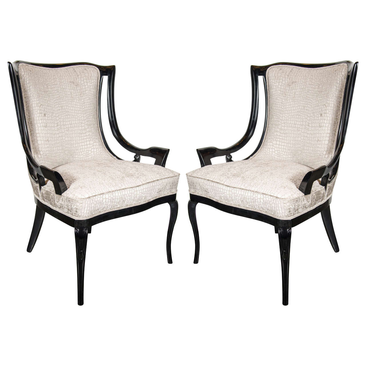 Sculptural Pair Of 1940s Sleigh Arm Occasional Chairs In Oyster Croc Velvet For
