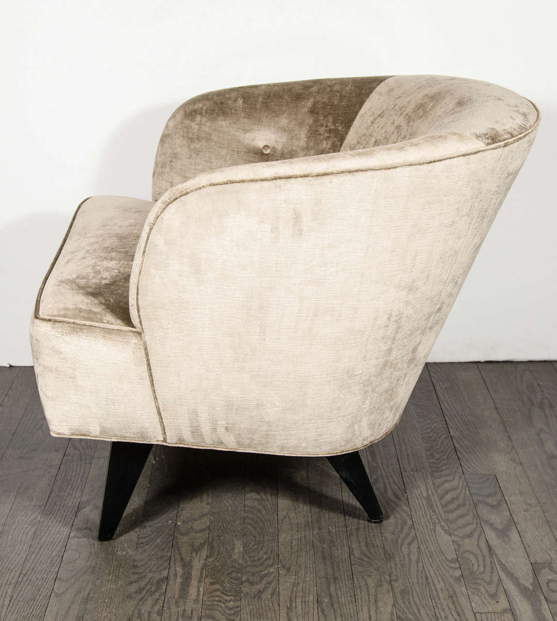 Mid Century Modernist High Back Or Desk Chair W New: Luxe Mid-Century Modernist Curved Back Club Chair At 1stdibs