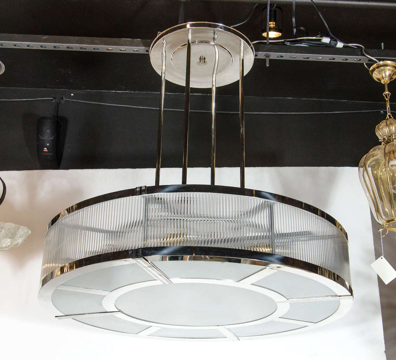 Streamline art deco style circular chandelier in polished nickel and this large scale machine age french art deco style chandelier in the manner of petitot arubaitofo Gallery