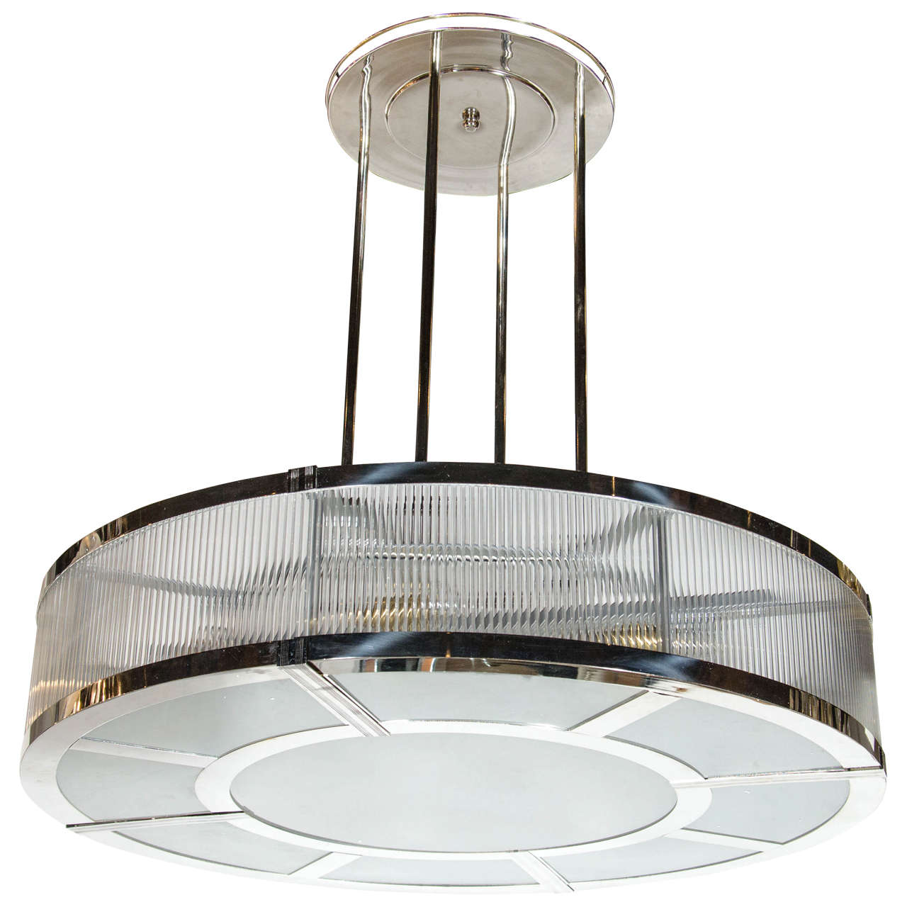 Streamline art deco style circular chandelier in polished nickel glass for sale