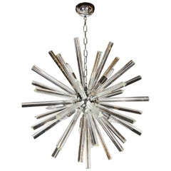 Mid-Century Modernist Murano Glass Triedre Rod Sputnik Chandeliers