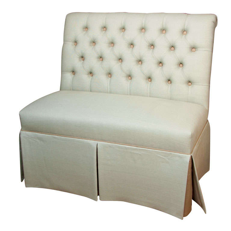 Reproduction Tufted Banquette Upholstered In Linen At 1stdibs