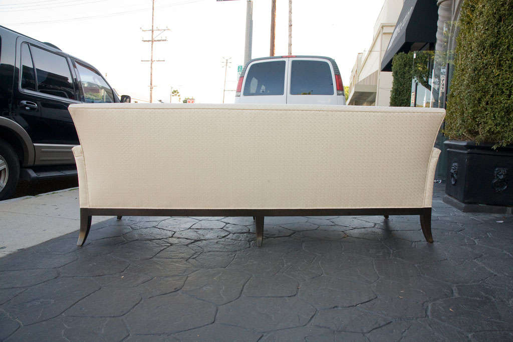 Mid Century Sofa in Imported quilted cream silk 8