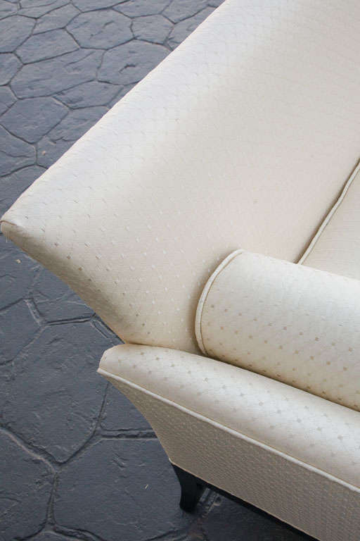 Mid Century Sofa in Imported quilted cream silk 9