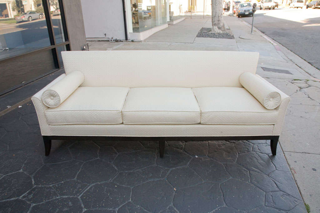 Mid Century Sofa in Imported quilted cream silk For Sale 4