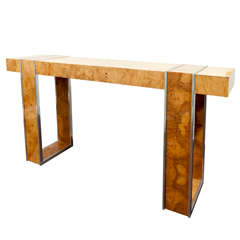 Burled Wood Console in the Style of Milo Baughman