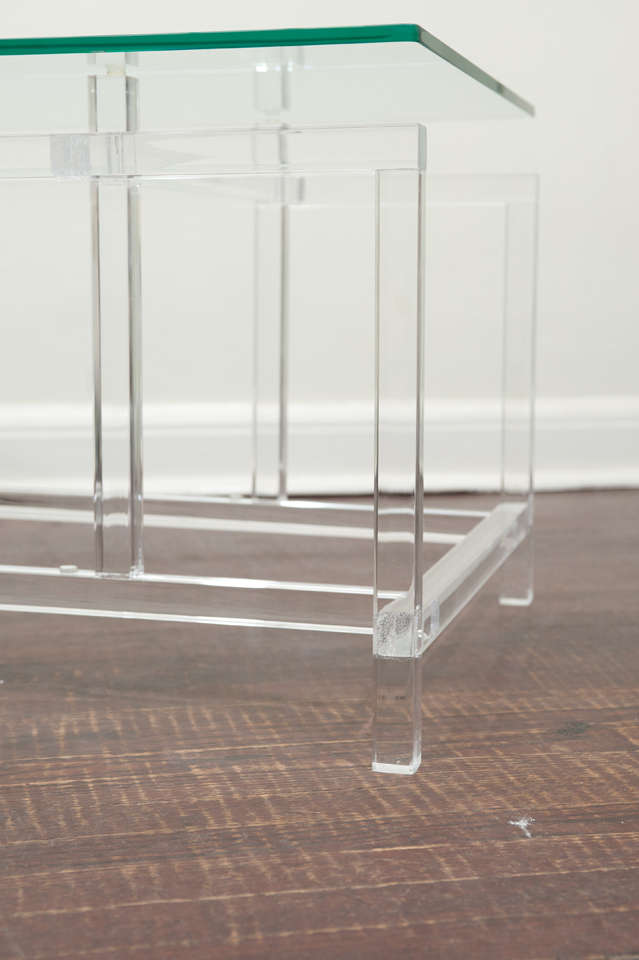 Mid-Century Modern Lucite and Glass Cocktail Table After Komfort For Sale