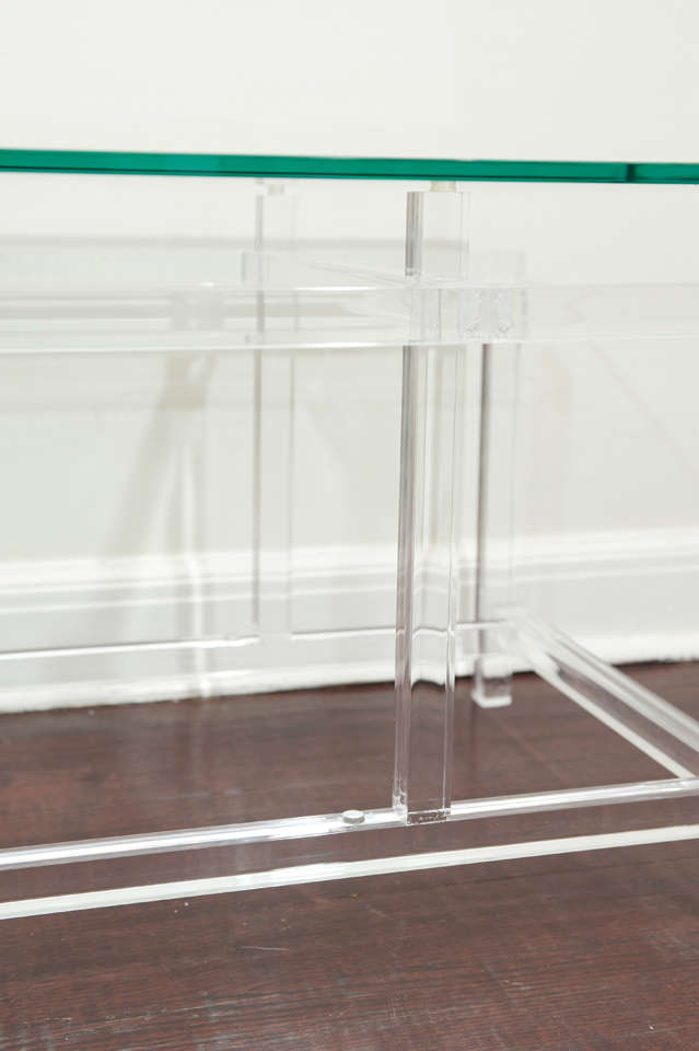 Canadian Lucite and Glass Cocktail Table After Komfort For Sale