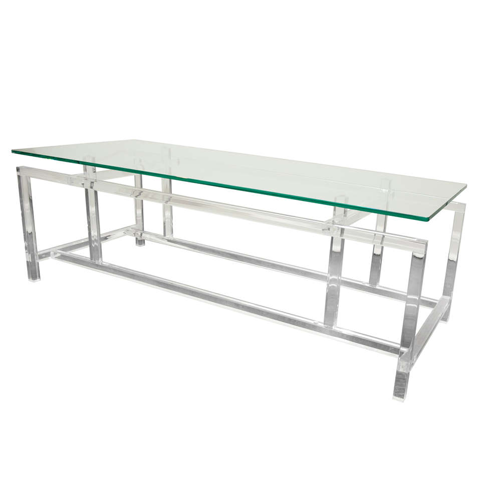 Lucite and Glass Cocktail Table After Komfort For Sale