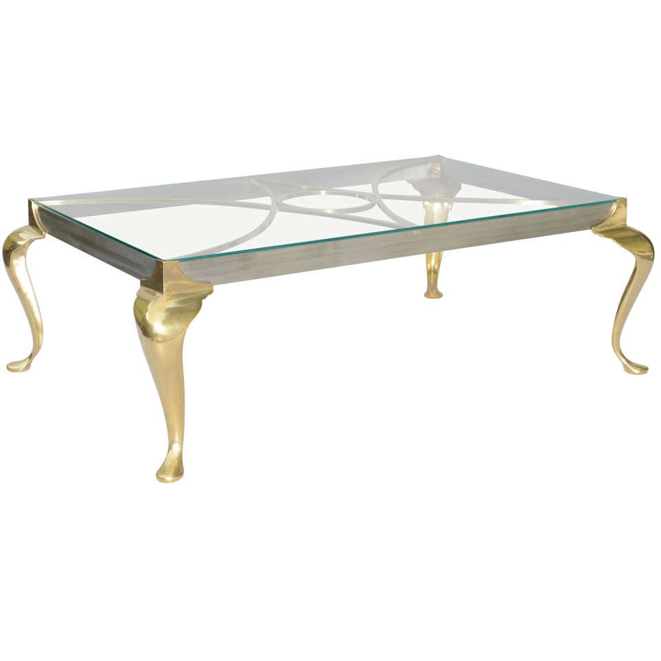Polished Steel And Brass Coffee Table On Cabriole Legs For