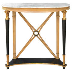 Oval Neoclassical Style Console Table with Marble Top by Palladio