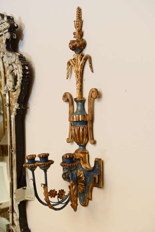 Pair of Dramatic Italian Carved Wood Sconces For Sale at 1stdibs