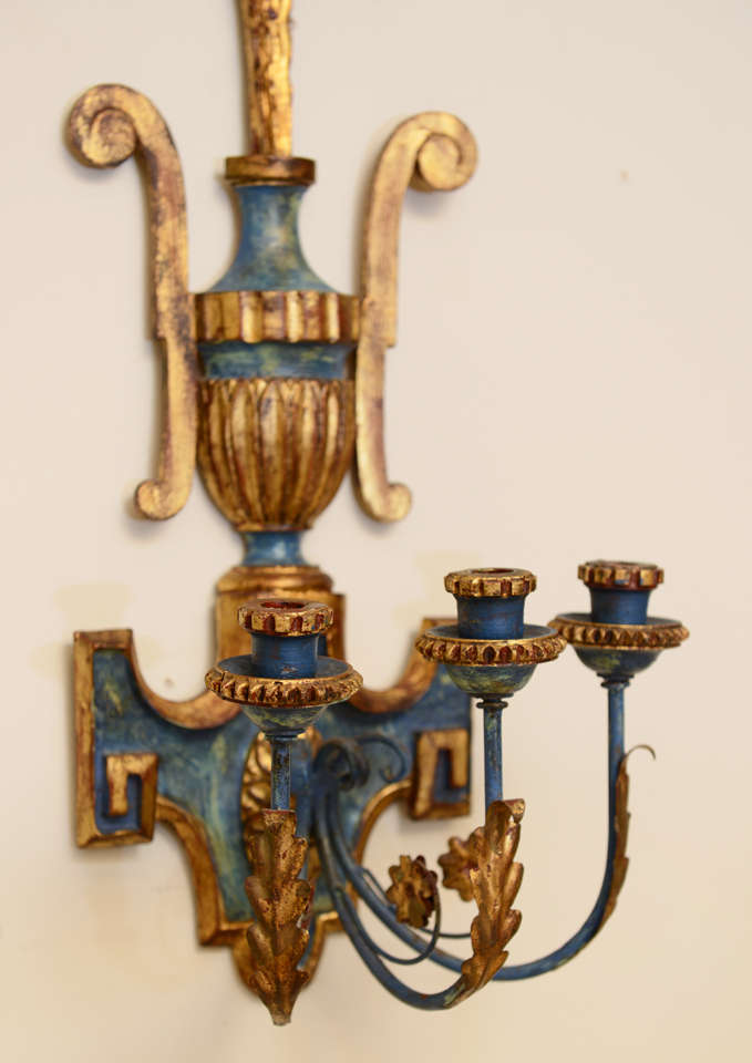 Pair of Dramatic Italian Carved Wood Sconces at 1stdibs