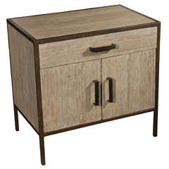 Paul Marra Distressed Fir Nightstand with Embossed Faux Bronze Framing