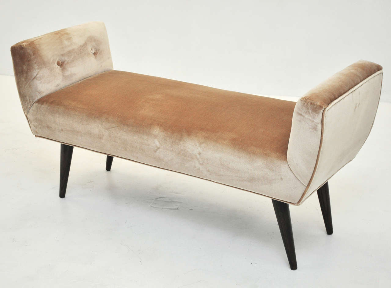 Mid Century Bench In Silk Velvet At 1stdibs