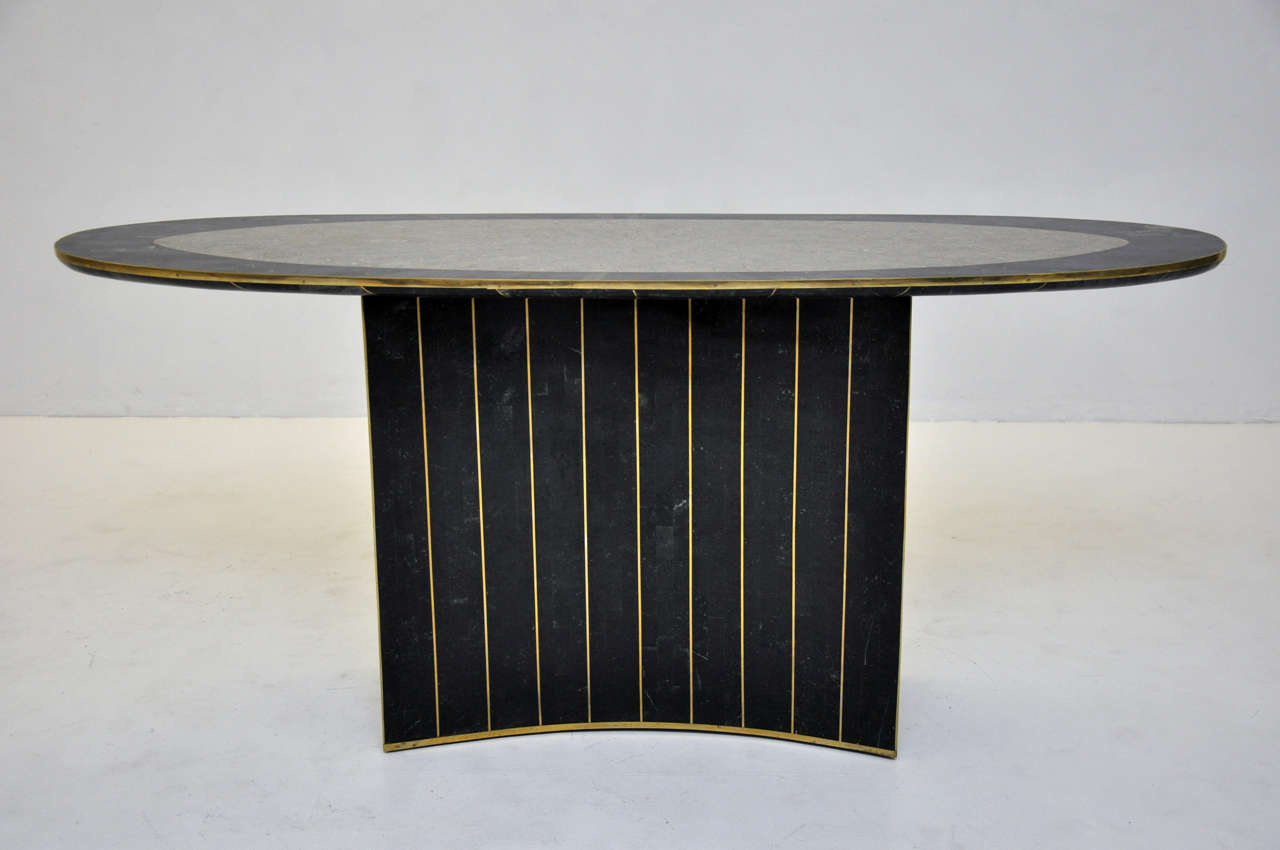 Tessellated stone console table with brass trimming by Maitland-Smith.