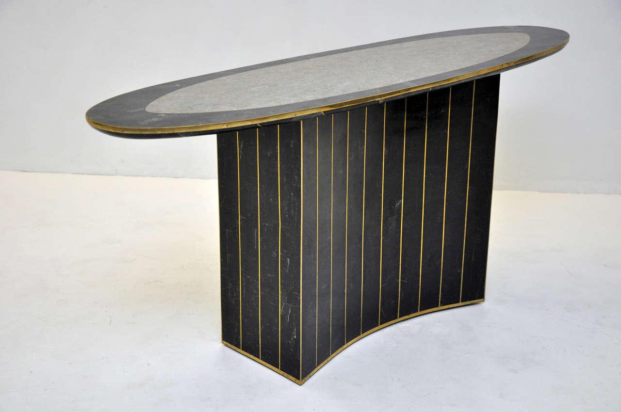 Brass Maitland Smith Tessellated Stone Console