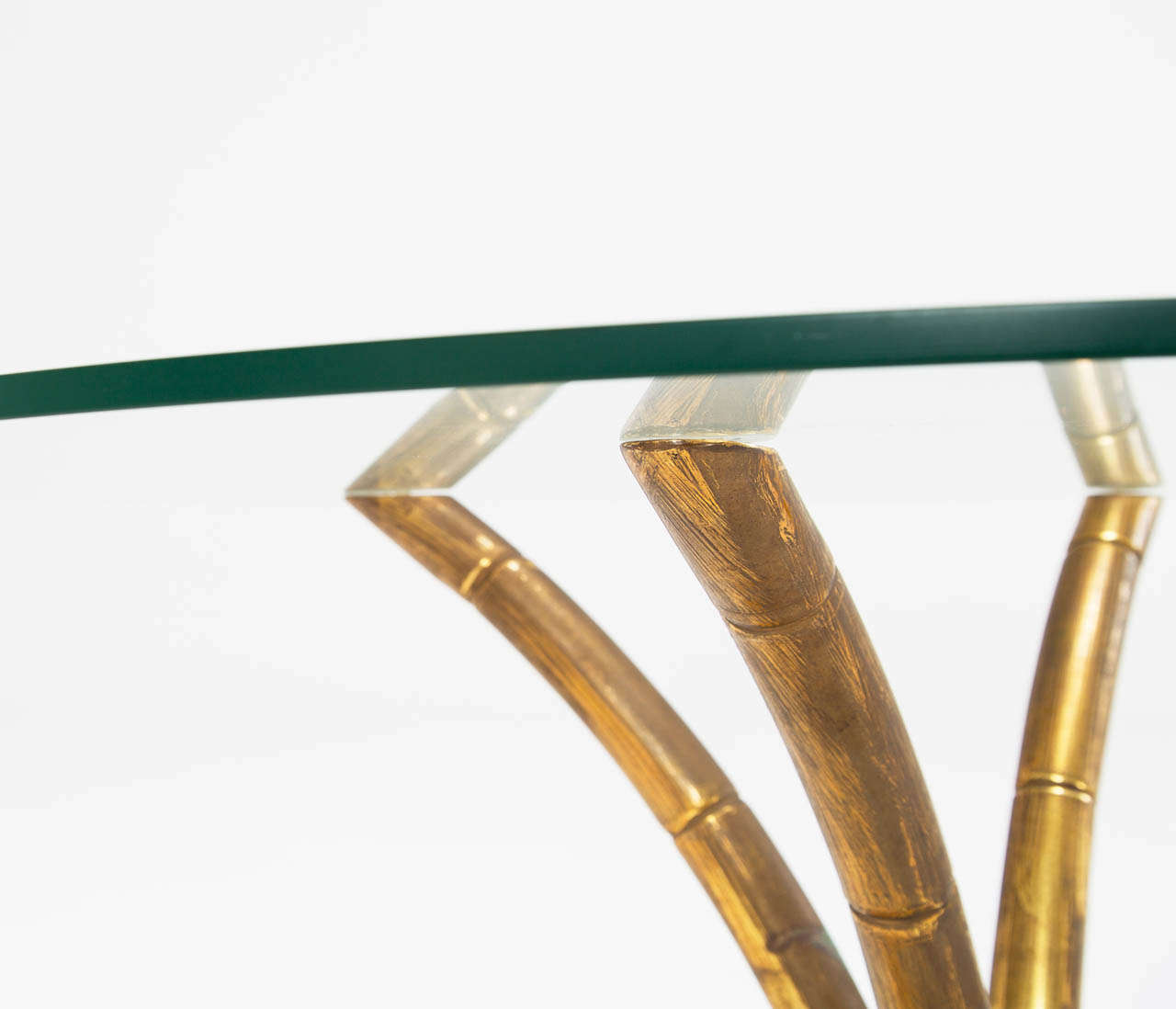 Brass Faux Bamboo Coffee Cocktail Table With Glass Top