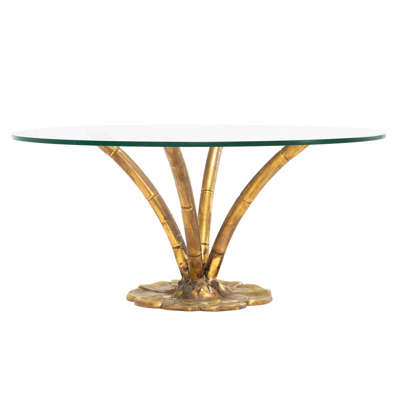 Brass Faux Bamboo Coffee / Cocktail Table with Glass Top