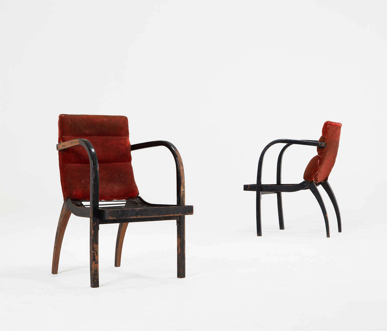 Thonet Bentwood Armchairs With Original Upholstery 1950s For Sale At 1stdibs