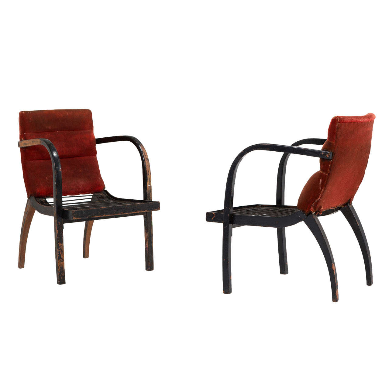 Thonet Bentwood Armchairs with Original Upholstery, 1950s