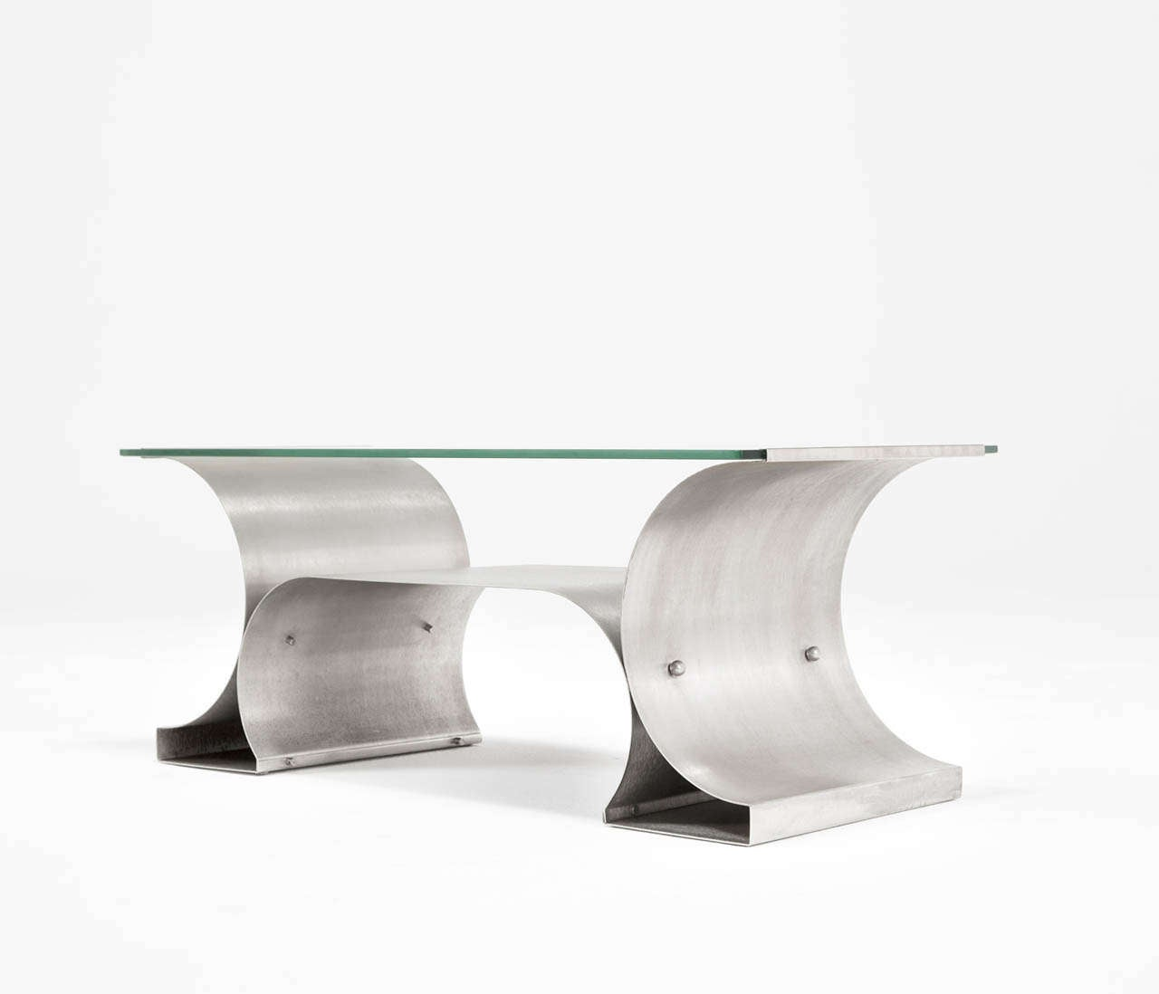 Michel Boyer Stainless Steel Coffee Table From The U0027X Seriesu0027 2