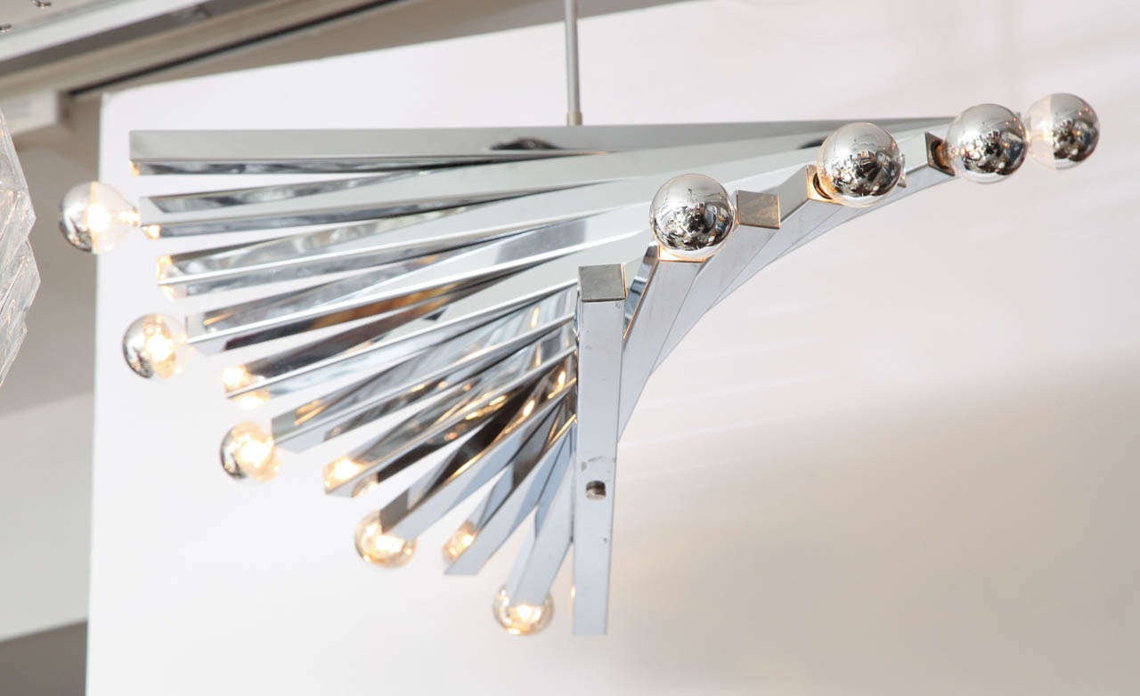 Mid-Century Modern Chandelier, by Sciolari, circa 1960, Chrome For Sale