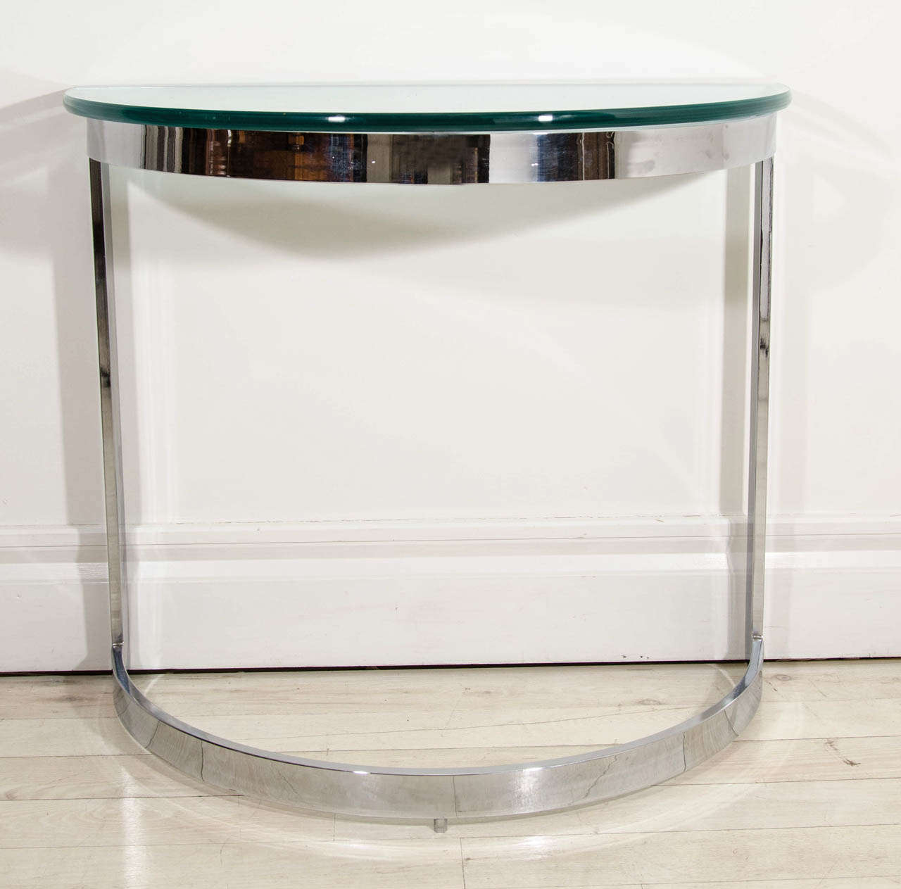 French Pair Of Mid Century Modern Chrome And Gl Demilune Console Tables For