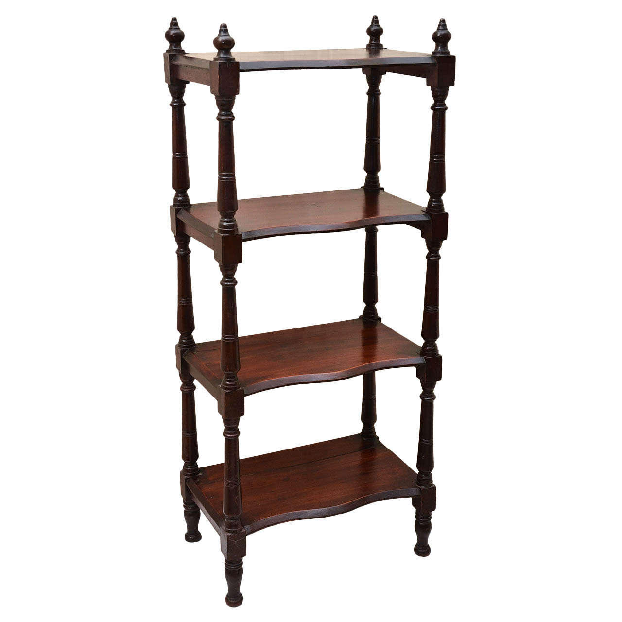 english victorian four tier etagere with serpentine shaped shelves at 1stdibs. Black Bedroom Furniture Sets. Home Design Ideas