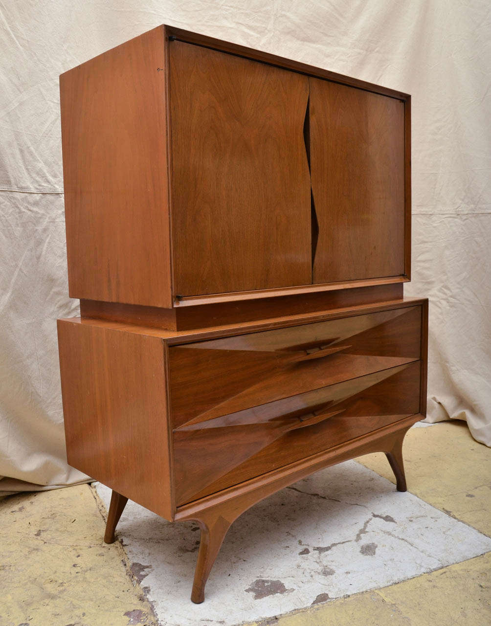 Mid Century Walnut Cabinet On Two Drawer Chest At 1stdibs