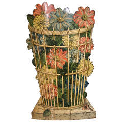 Piero Fornasetti Open Umbrella Stand, 1960s, Decorated with Flowers in Basket