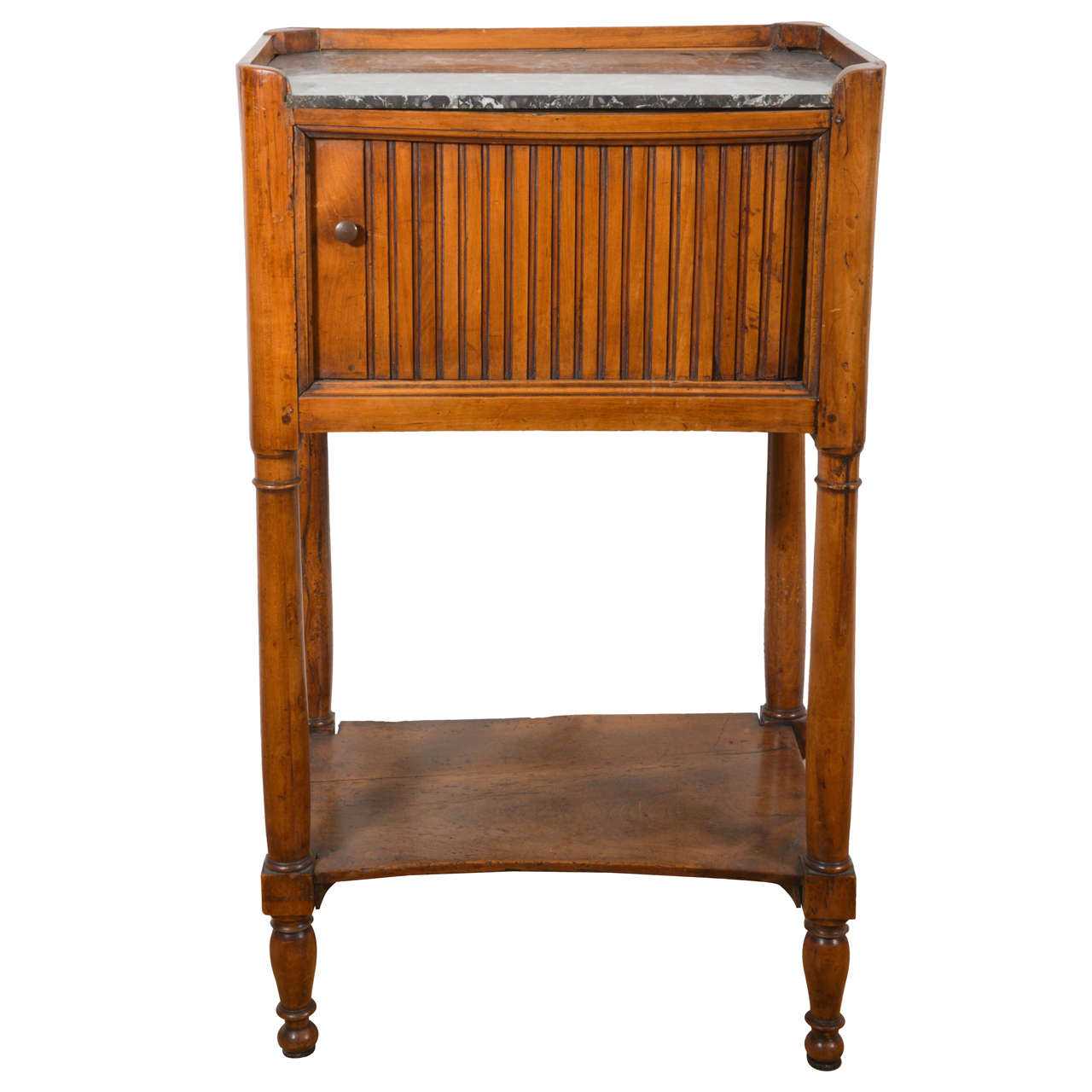 Louis XVI Walnut French End Table with Marble Top