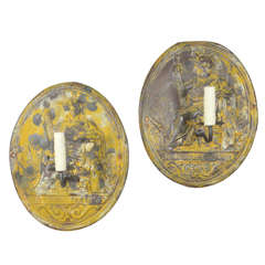 Pair of 19th Century Tin Tole, Republic of France Emblem Sconces