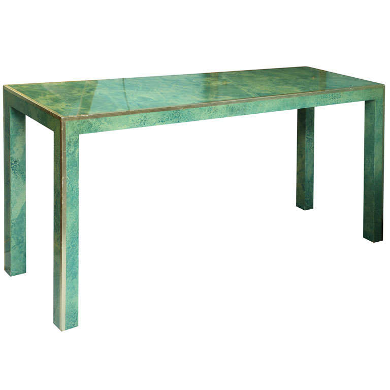 Modern Painted And Lacquered Quot Malachite Quot Console Table At