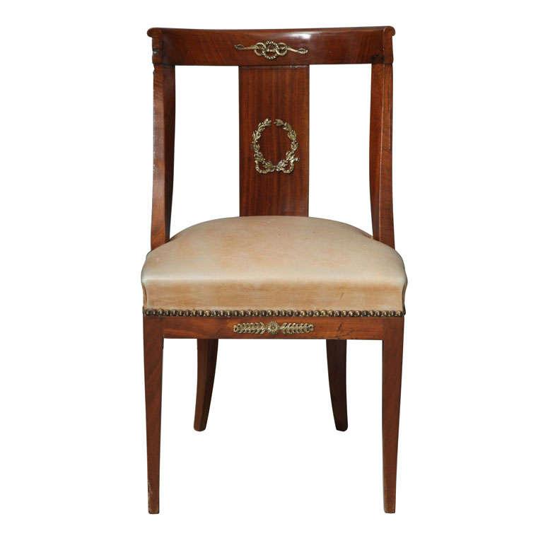 19th C Second Empire Walnut Chair With Original Ormolu At