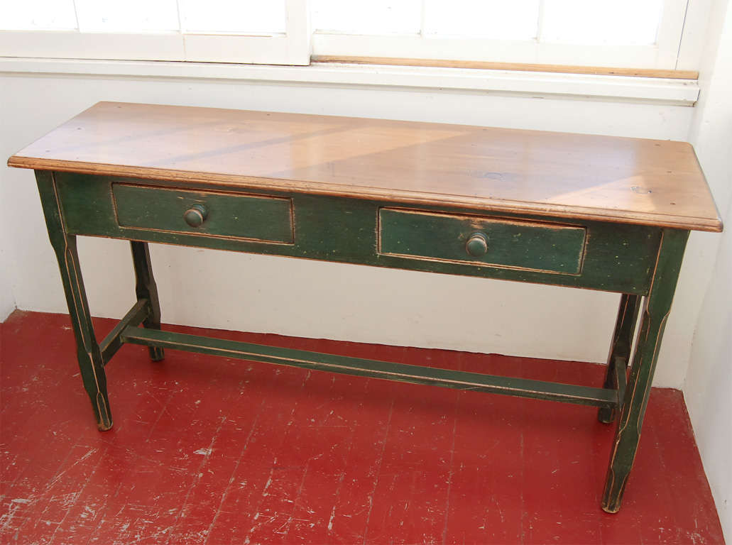 Canadian sofa table in original green paint at 1stdibs for Sofa table canada