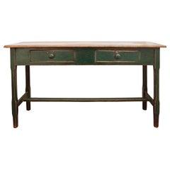 Canadian sofa table in Original green paint