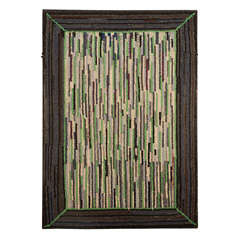 Mounted Pennsylvania Amish Hand-Hooked Rug, Hit or Miss Pattern