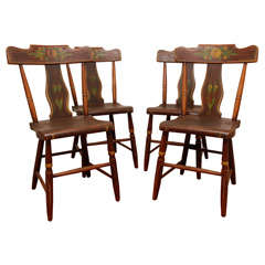 19th Century Original Painted Set of Four Pennsylvania Plank Chairs
